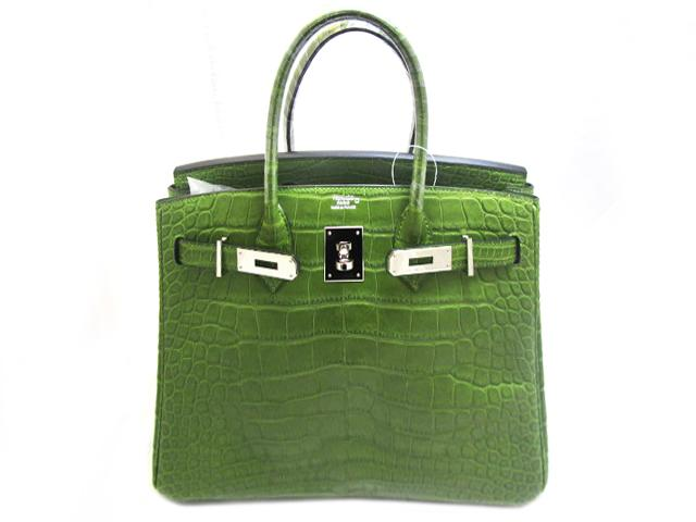 Alligator Mat皮革银扣Birkin 30肩背袋Anis Green/绿色