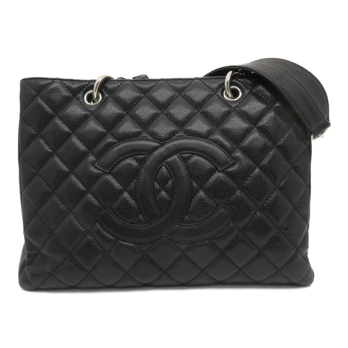 CHANEL CHANEL バッグ   菱格Caviar皮革Grand Shopping Tote Bag肩背袋黑色