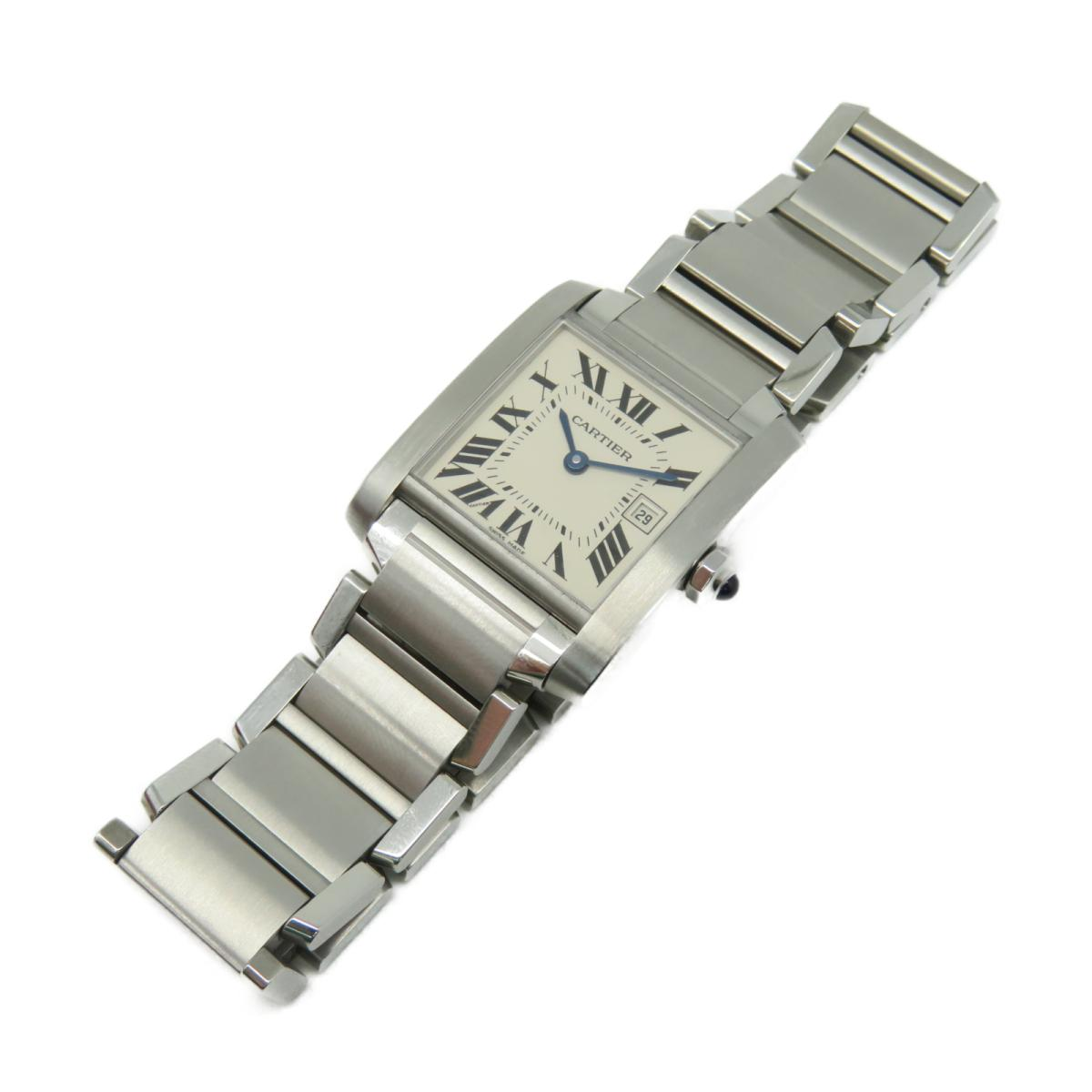 Cartier Cartier 時計 W51011Q3  Tank Francaise Watch MM 不鏽鋼石英機芯手錶白色